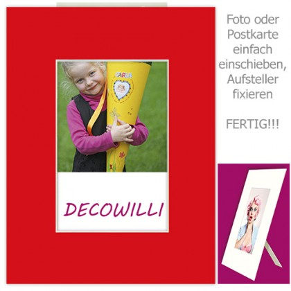 Einschub-Passepartout COLOR - Red - DECOWILLI 18x24 / Bild 10x15
